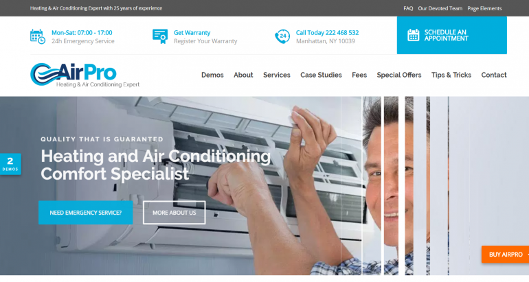 Airpro: The 10 Best HVAC/Plumbing WordPress Themes for 2019