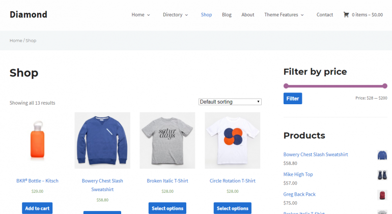Diamond: The 50 Best WordPress eCommerce Themes of 2019 (Free and Paid)