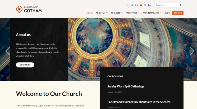 Faith: The Best Free (or Really Cheap) WordPress Church Themes of 2019