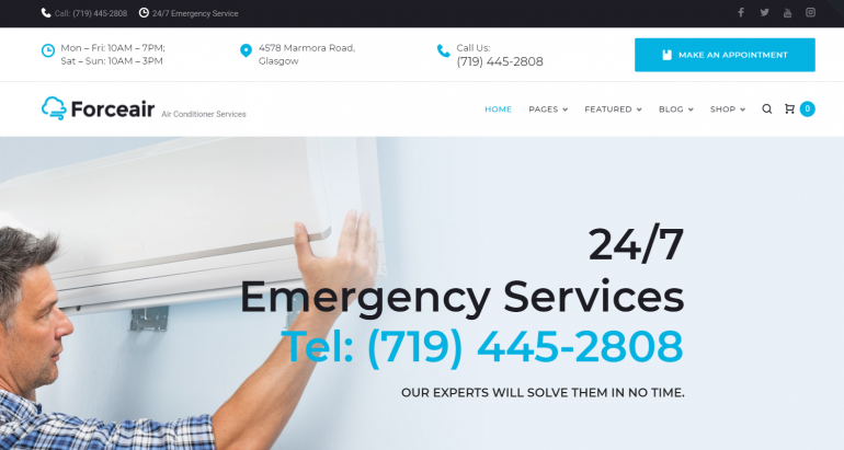 ForceAir: The 10 Best HVAC/Plumbing WordPress Themes for 2019