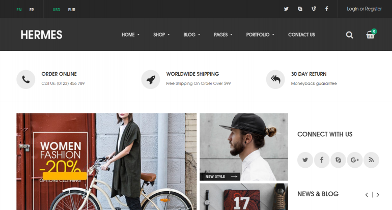 Hermes: The 50 Best WordPress eCommerce Themes of 2019 (Free and Paid)