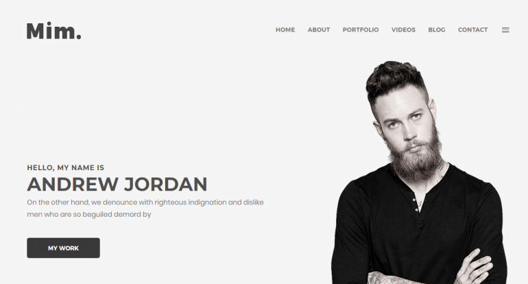 Mim: Best WordPress Themes for Actors and Actresses 2019