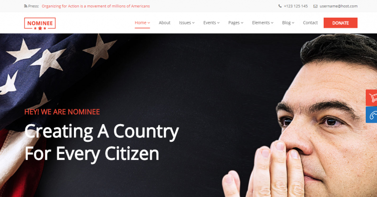 Nominee: The 10 Best WordPress Themes for Political Campaigns and Candidates for 2019-2020 (Democrat/Republican/Independent)