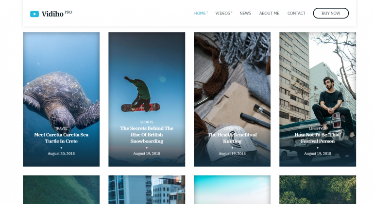 Vidiho Pro: The Best WordPress Themes for Videographers 2019