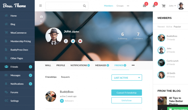 Boss: The Best WordPress Themes For Membership Sites 2019