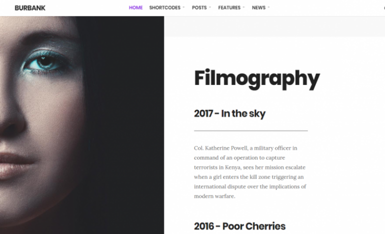 Burbank: Best WordPress Themes for Actors and Actresses 2019