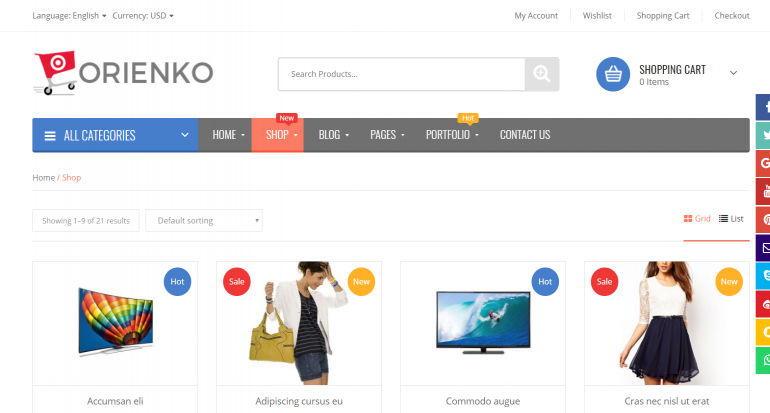 Orienko: The 50 Best WordPress eCommerce Themes of 2018 (Free and Paid)